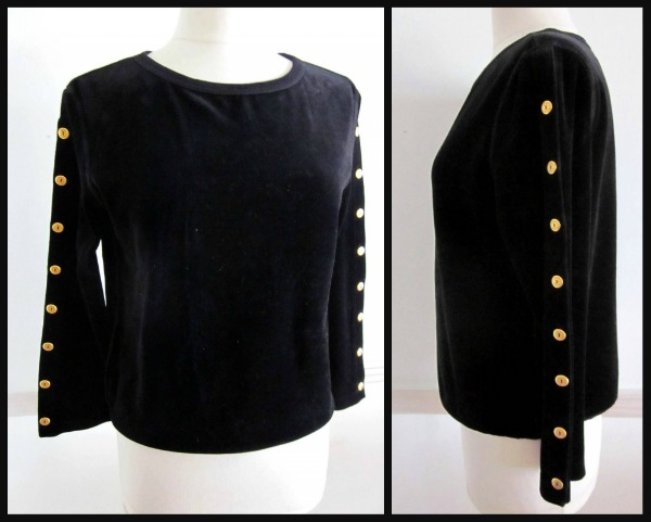 Sonia Rykiel Black Velour Pullover with gold signature buttons