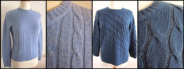 M.A.G. cashmere cable knit and MALO wool chunky knit, both at the ebay store