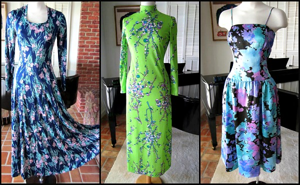 Maxi dresses at the etsy shop, 60s, 70s, 80s