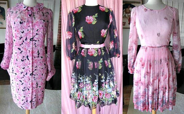 Pretty in Pink 1960s floral chiffon and georgette dresses to dress like a Palm Beach socialite
