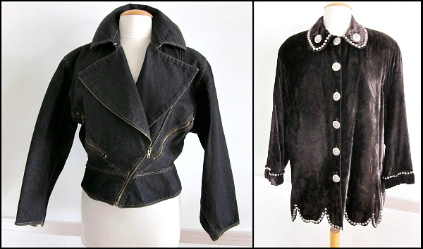 Azzedine Alaia Black denim motorcycle jacket, DD Double D Ranchwear velvet studded jacket