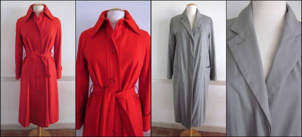 Vintage 70s Haire for Friedricks red wool trench, Donna Karan Signature Gray Reefer coat