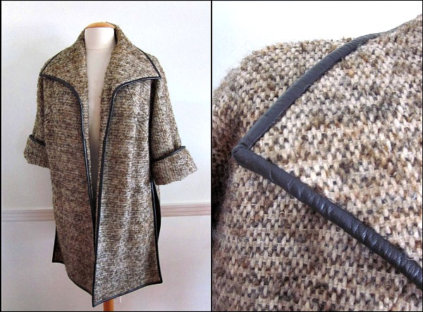 Tweed and Leather coat attr. to Bonnie Cashin