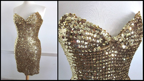 gold sequin #HappyBirthdayMrPresident cocktail dress