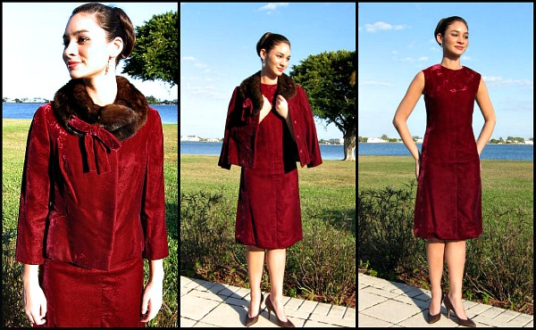 Sarmi couture vintage 60s silk velvet dress with sable trimmed jacket