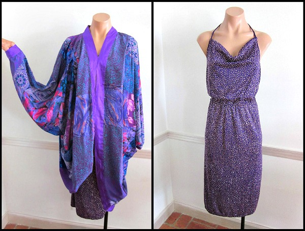 Maggie Shepherd collage cocoon coat with vintage disco 70s glitter jersey dress