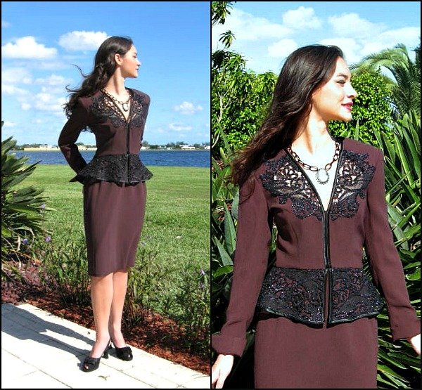 Travilla vintage 80s peplum dress