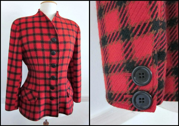 Valentino Boutique red plaid hacking jacket