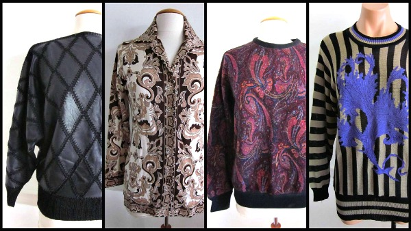 L: Angel leather 80s LC: Hooper Austrian 60s wool shirt  RC: Gianfranco Ferre 80s paisley  R:  Mondi 80s striped tunic