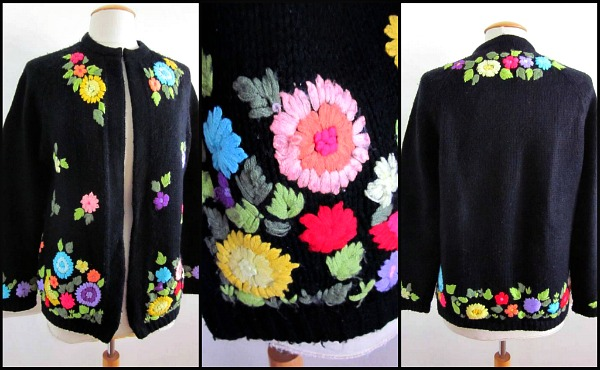 1950s yarn embroidred heavyweight cardigan