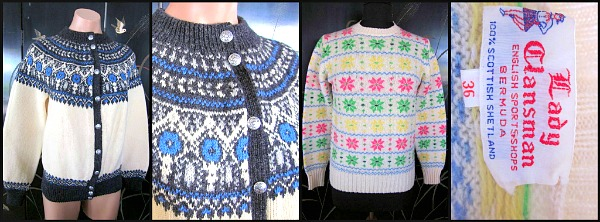 L:  50s Hand knit Nordic cardigan R: 1960s Scottish Shetland from Lady Clansman