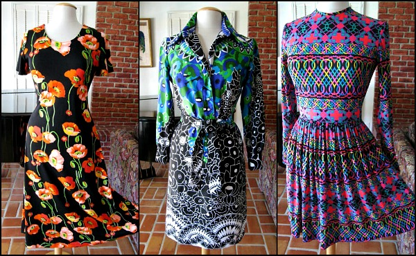 60s to 70s prints L to R:  Mr. Dino, Lanvin, op art jersey