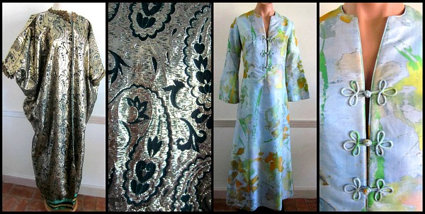 The ultimate entertaining caftan is a heavy gold brocade with lavish ribbon and velvet trim and a 70s Tegaki hand painted caftan made in Hong Kong and sold through Bergdorf Goodman