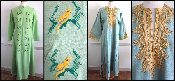 Tetoran embroidered textile from Lolitte's Boutique circa 1960s and moire satin with passimenterie trim from Morocco circa 1970s
