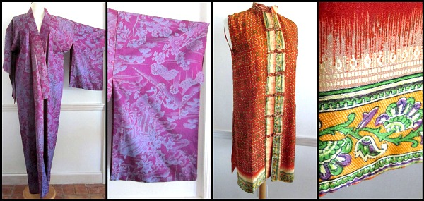 Lightweight vintage kimono circa 1970s and Indian silk tunic dress both serve as caftan alternatives