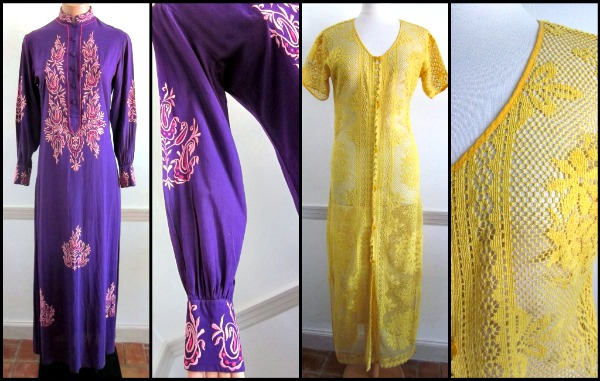 Embroidered Moroccan caftan circa 1970s and a yellow lace version circa 1970s