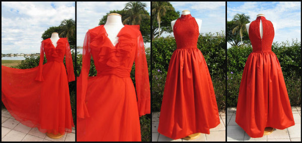 60s Miss Elliette georgette gown & 80s JEET silk ball gown