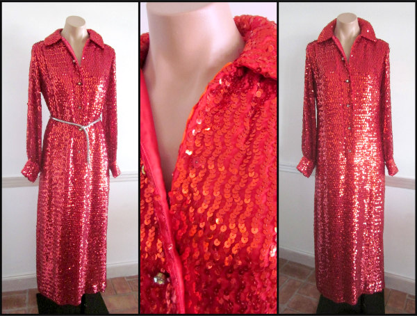 1960s sequin shirtwaist maxi dress