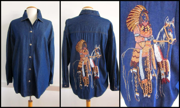 Denim shirt jacket with elaborate beaded  back Native American rider on horseback