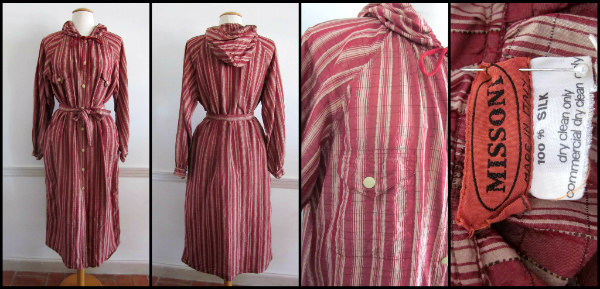 Vintage Missoni crinkle silk hooded trench