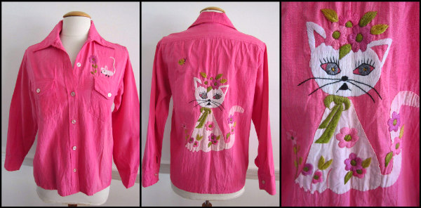 Royer Acapulco Mexico 60s cat-n-mouse embroidered shirt jacket