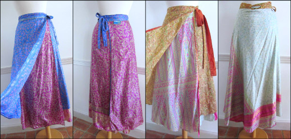 Reversible silk sari fabric festival skirts