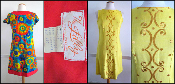 "L: ""The Lilly"" vintage Lilly Pulitzer dress, R: 50s embroidered shift dress"