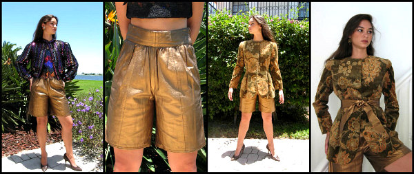 L: Giorgio Armani bronze leather shorts, R: Bill Blass gilded velvet jacket