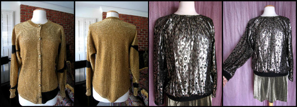 L: Steve Fabrikant sweater, R: leopard lame' top