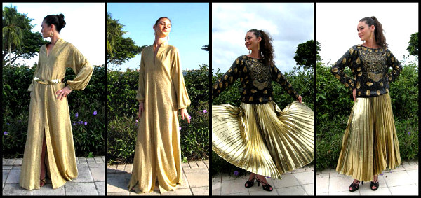 L: Halston lame' caftan, R: Halston pleated skirt