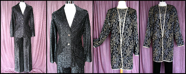 L: 70s lame' pantsuit, R: knit lame' sweater and coat twinset